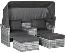Outsunny 3 PC Outdoor PE Rattan Daybed Sofa Stool
