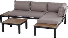 Outsunny 3 Pcs Aluminium Frame Garden Seat Set w/