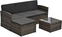 Outsunny 3 Pcs PE Rattan Sofa Set w/ Footstool