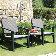 Outsunny 3 Pieces PP Rattan Coffee Set Bistro