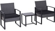 Outsunny 3 Pieces Rattan Dining Set Patio Bistro