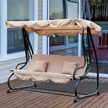 Outsunny 3 Seater Garden Swing Chair Beige Outdoor