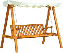 Outsunny 3 Seater Wooden Garden Swing Chair Bench