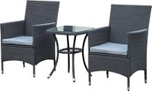 Outsunny 3pc Rattan Coffee Set-Grey