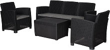 Outsunny 4 PC Rattan Sofa Set PP Wicker w/ 3-Seat