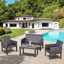 Outsunny 4 PCs Aluminum PE Rattan Wicker Sofa Set