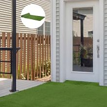 Outsunny 4 x 1m Artificial Grass Turf 20mm Pile Height Non-toxic Roll Grass Carpet Fake Grass Mat with Drainage Holes UV resistance for Outdoor