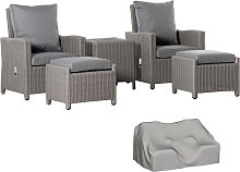 Outsunny 5 PCs Outdoor Rattan Lounge Sofa w/