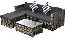 Outsunny 5 Pcs Rattan Outdoor Sofa Seat Set Wicker