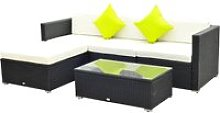 Outsunny 5 PCS Rattan Sofa Set-Black