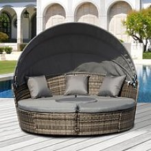 Outsunny 5 Piece Cushioned Outdoor Plastic Rattan