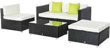Outsunny 5PC Rattan Furniture Set Garden Sectional