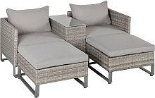 Outsunny 5pcs Patio Rattan Sofa Chaise Lounge