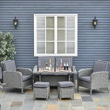 Outsunny 6 PCS Outdoor Patio Rattan Dining Table
