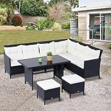Outsunny 6 Psc Rattan Sofa Set-Black