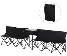 Outsunny 6-Seater Chair Bench w/ Cooler Bag Metal