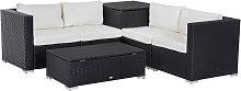 Outsunny 6PC Rattan Corner Sofa Set Storage