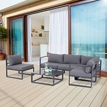 Outsunny 6Pcs Outdoor Sectional Sofa Set