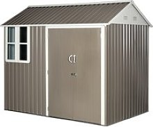 Outsunny 8x6ft Corrugated Metal Garden Shed w/