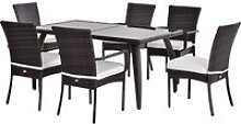 Outsunny Brown Rattan Garden Furniture Dining 7