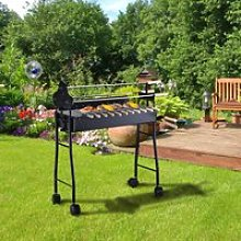 Outsunny Charcoal Barbecue Grill W/ 4 Wheels, size