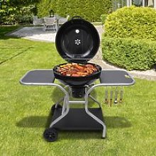 Outsunny Charcoal Trolley Barbecue Grill W/ Wheels