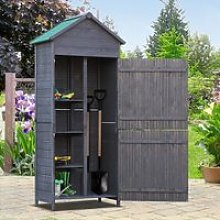 Outsunny Fir Wood Outdoor Garden Utility Shed Grey