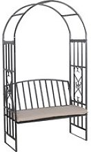 Outsunny Garden Arbor Arch Bench Padded Seat