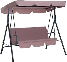 Outsunny Garden Patio Swing Chair 3 Seater Swinging Hammock Canopy Outdoor Cushioned Bench Bed Seat (Brown)