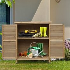 Outsunny Garden Storage Unit Solid Fir Wood Garage