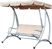 Outsunny Garden Swing Chair Patio Hammock 3 Seater Seat Bench Adjustable Canopy Beige