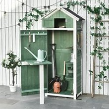Outsunny Garden Wood Storage Shed with