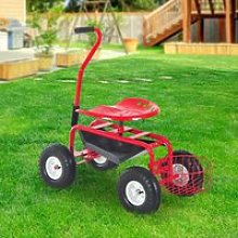 Outsunny Gardening Planting Rolling Cart W/Tool