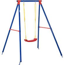 Outsunny Kids Metal A Frame Outdoor Swing w/