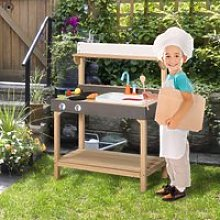 Outsunny Kitchen Playset, Kids Pretend Role Play