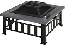 Outsunny Metal Fire Pit Outdoor Backyard Square