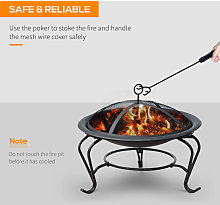 Outsunny Outdoor Metal Fire Pit Round Firepit Wood