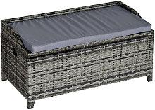 Outsunny Patio Rattan Wicker Storage Basket Box