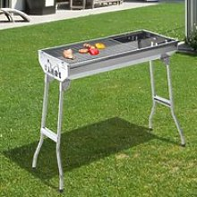Outsunny Portable Charcoal BBQ Grill-Silver