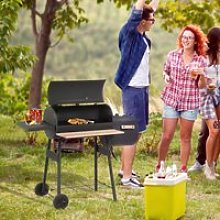 Outsunny Portable Charcoal BBQ Grill Steel Offset