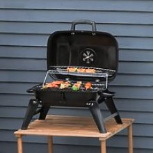 Outsunny Portable Charcoal Grill Compact BBQ