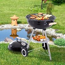 Outsunny Portable Round Kettle Charcoal Grill BBQ