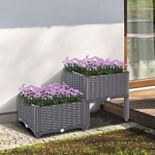 Outsunny PP Set Of 2 Raised Outdoor Garden Planter