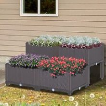 Outsunny PP Set Of 4 Raised Outdoor Garden Planter
