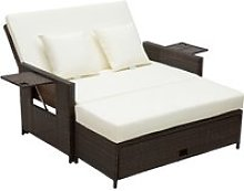 Outsunny Rattan 2-Seater Day Bed-Brown