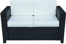 Outsunny Rattan 2-Seater Sofa-Black