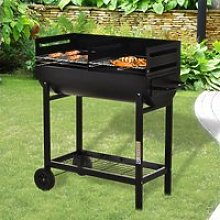 Outsunny Steel 2-Grill Charcoal BBQ w/ Wheels Black