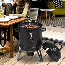 Outsunny Steel 3 in 1 Charcoal Smoker Grill w/