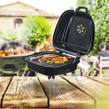Outsunny Steel Portable Charcoal BBQ Iron Grill w/