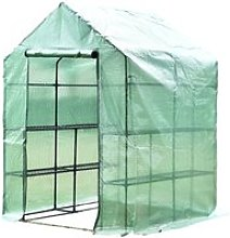 Outsunny Walk in Greenhouse W/ Shelves, M